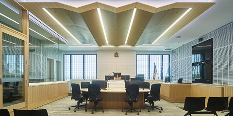 Inside one of the new courtrooms
