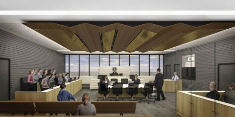 A courtroom design in the new Shepparton Law Courts